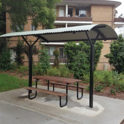 Canley Vale - curved roof shelter with piazza setting 1