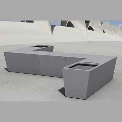 Street Furniture Urban GFRC Bench & Planter 1