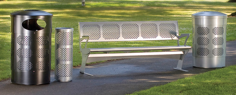 Street Furniture Brio Seat & Litter Bin 1
